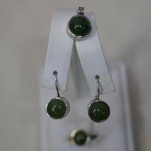 Sterling Silver Handmade Jade Ring, Earrings, Pend